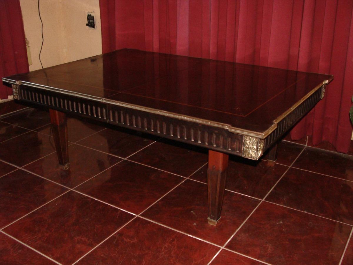 Antigua mesa de centro con borde de bronce 114 x80x41cm for Mesas de centro antiguas