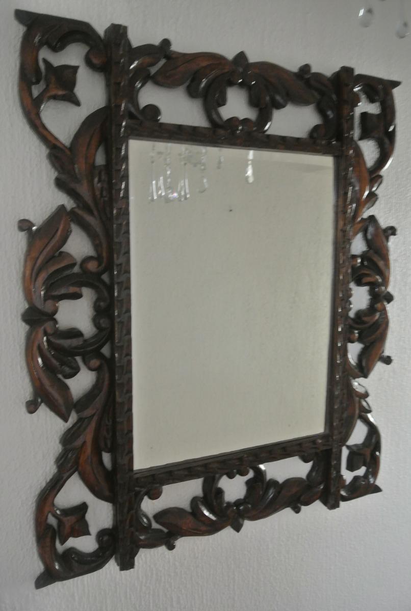 Antiguo espejo biselado marco de madera en for Espejo con marco biselado