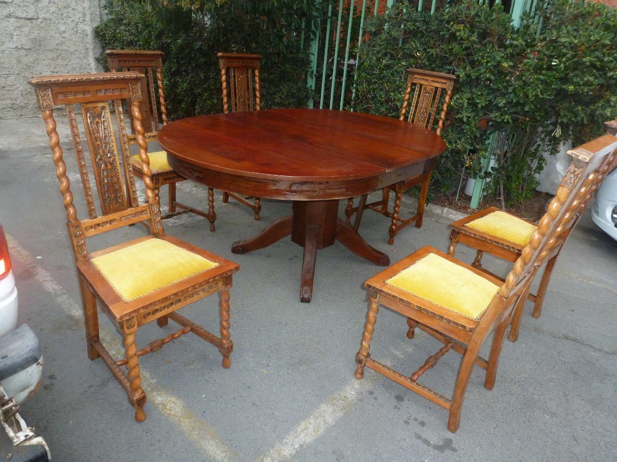 Comedor 6 Sillas Nogal Cruz Montt Mesa Art Deco Caoba  $ 600000 en