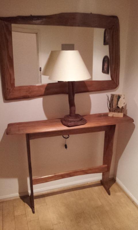 Espejo con marco rustico 100 artesanal madera natural for Disenos de marcos de madera para espejos