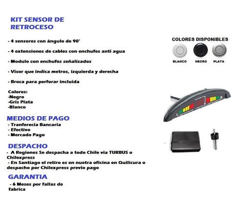 sensor de retroceso 4puntos, negro, blanco, gris plata
